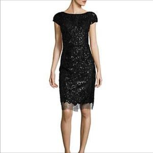 Vera Wang sequin and lace cocktail dress
